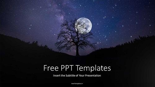 Night Sky Full Moon PowerPoint Templates Feature Image