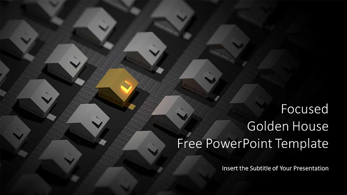 Focused Golden Houses PowerPoint Templates Feature Image