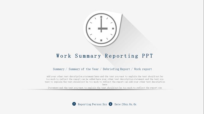 Work Summary Reporting Presentation Template